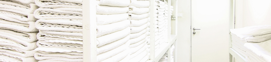 towels stacked on shelf