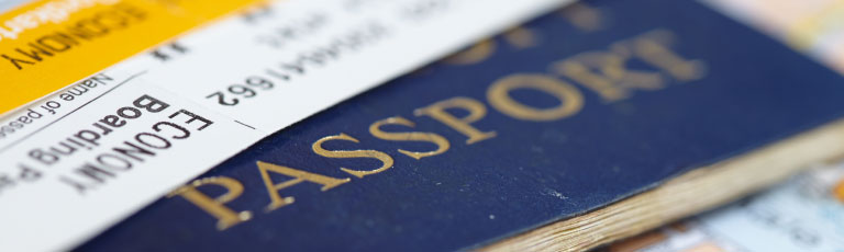 passport and boarding pass documents
