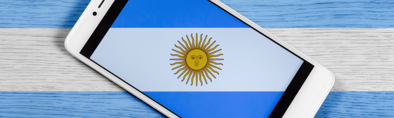 Argentina Flag on Smartphone Screen