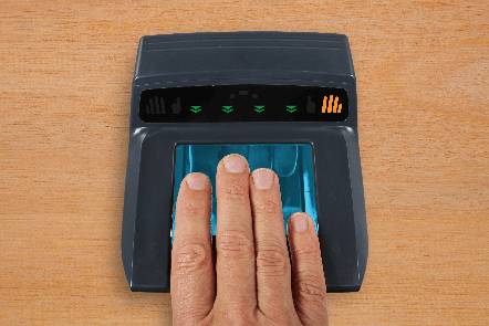 hand on fingerprint scanner