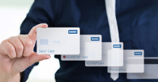 woman holding smart card