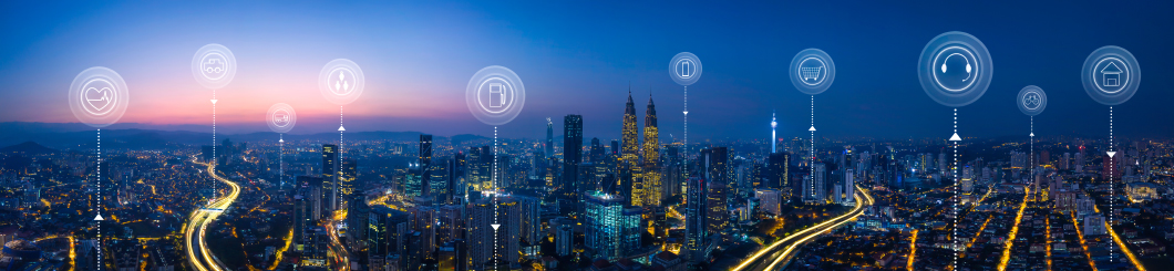 internet of things city skyline concept