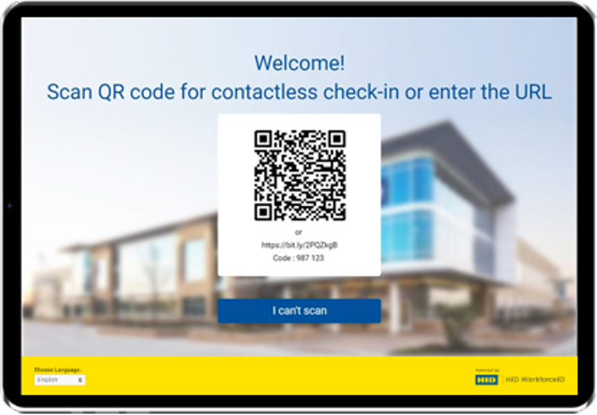 QR code for contactless check-in on tablet