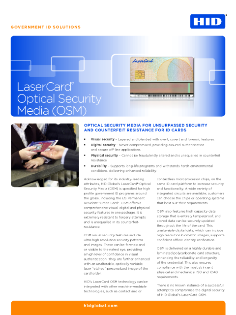 Optical Security Media Datasheet