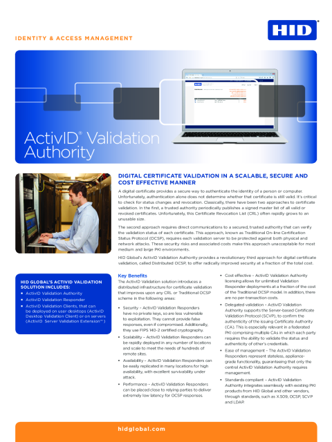 ActivID Validation Authority Datasheet