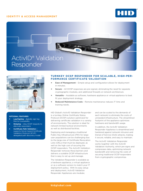 ActivID Validation Responder Datasheet