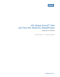 HID Global ActivID AAA and Palo Alto Networks GlobalProtect