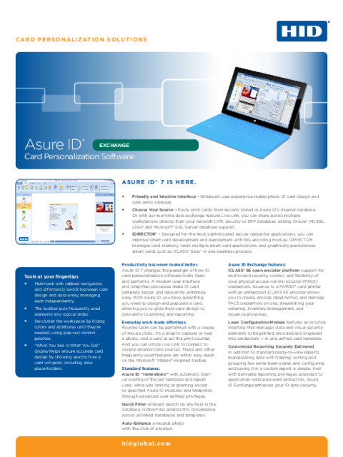 Asure ID® Exchange Card Personalization Software Datasheet