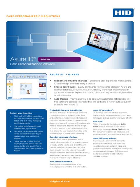 Asure ID® Express Card Personalization Software Datasheet