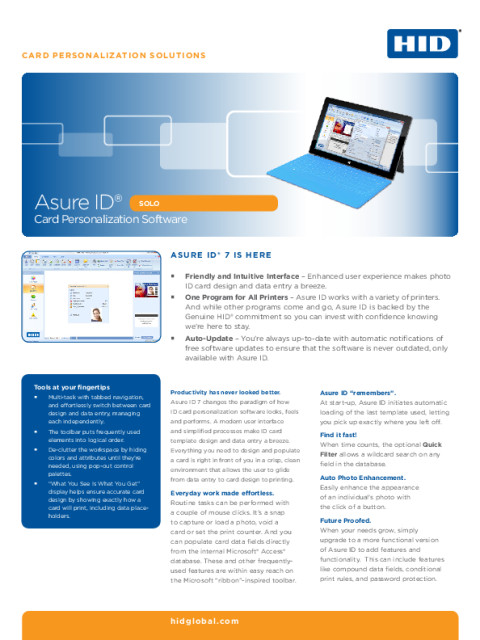 Asure ID® Solo Card Personalization Software Datasheet