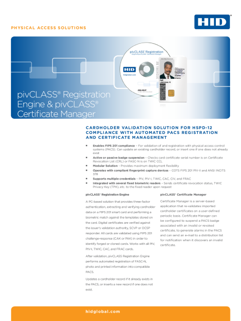 Pivclass Registration Engine Pivclass Certificate Manager