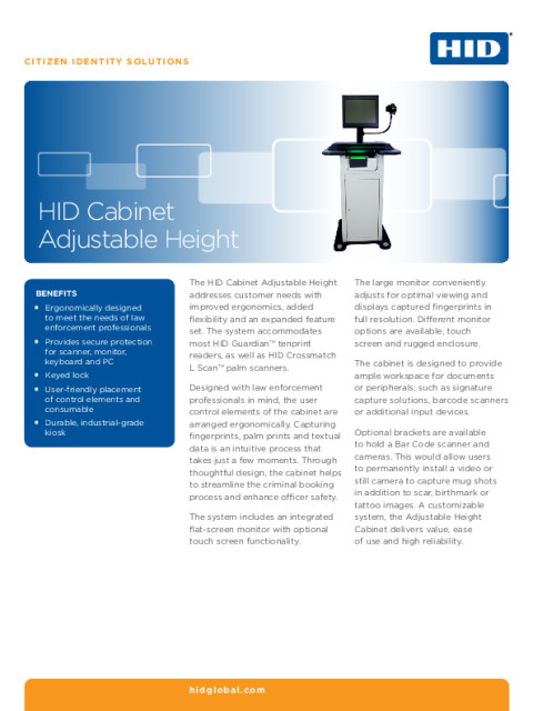 HID Adjustable Height Cabinet Datasheet