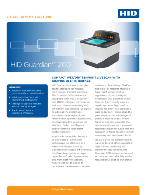 Guardian 200 Biometric Reader Datasheet