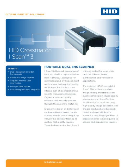 HID Crossmatch i Scan 3 Datasheet