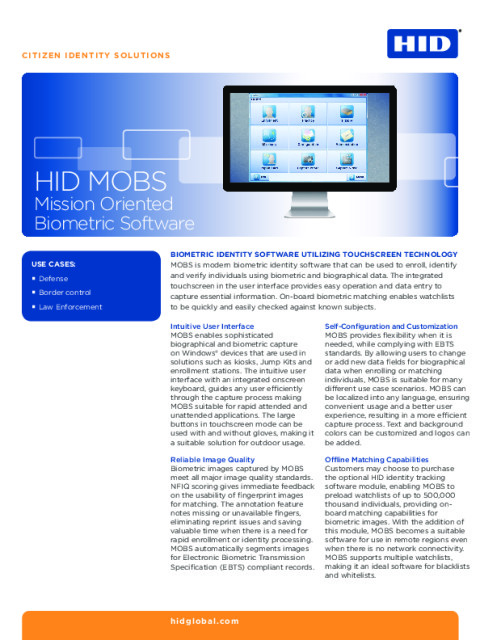 HID Mission Oriented Biometric Software (MOBS) Datasheet