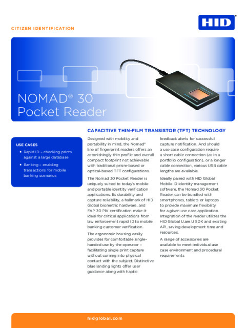 HID® NOMAD® 30 Pocket Reader Datasheet