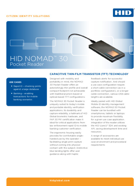 HID Nomad 30 Pocket Reader Datasheet