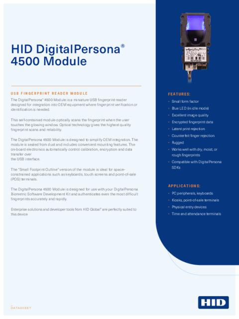 DigitalPersona 4500 Module Data sheet