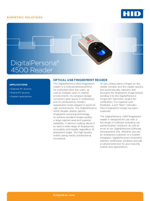 EAT DIGITALPERSONA 4500 READER DATASHEET (ENGLISH)