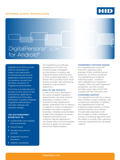 DigitalPersona® SDK for Android® Datasheet