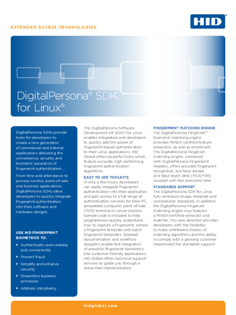 DigitalPersona® SDK for Linux® Datasheet