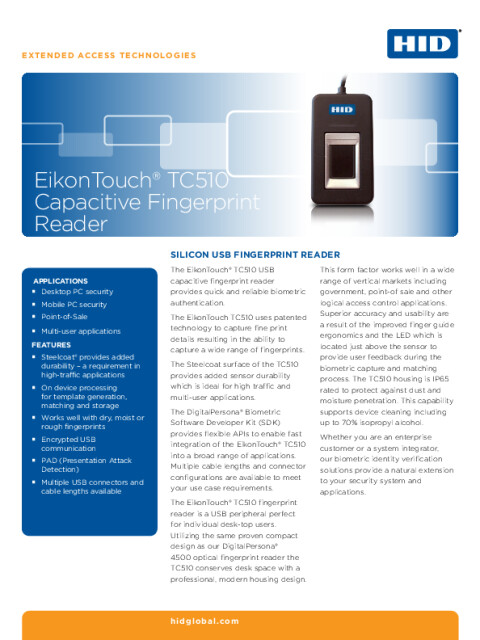 EikonTouch TC510 Capacitive Fingerprint Reader Datasheet