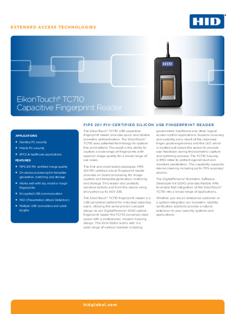 EikonTouch TC710 Capacitive Fingerprint Reader Datasheet