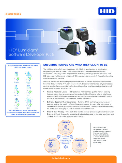 HID® Lumidigm® Software Development Kit 8
