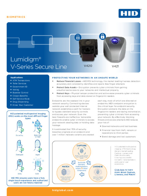 Lumidigm® V-Series Secure Line Datasheet