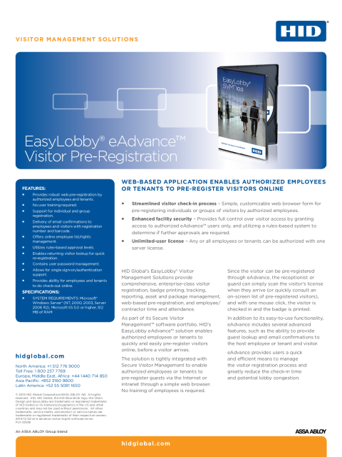 EasyLobby eAdvance Visitor Management Software Datasheet