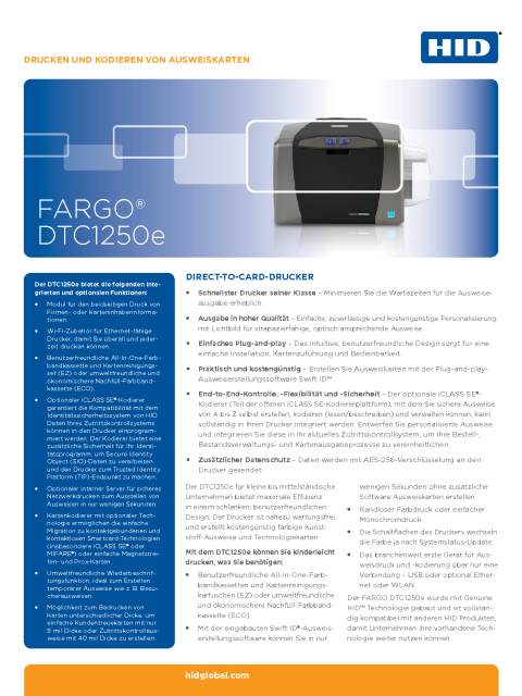 FARGO DTC1250e Direct-To-Card-Printer Datasheet
