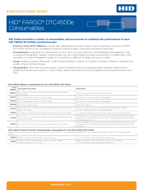 HID® FARGO® DTC4500e Consumables Specifications Sheet