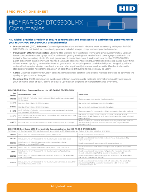 HID® FARGO® DTC5500LMX Consumables Specifications Sheet