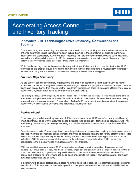 Accelerating Access Control & Inventory Tracking White Paper