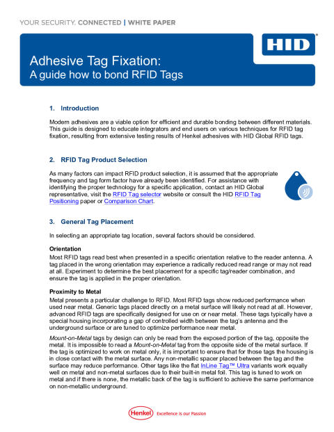 Adhesive Tag Fixation: A guide how to bond RFID Tags White Paper