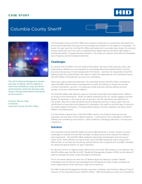 Columbia County Sheriff Case Study