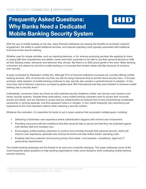 Frequently Asked Questions: Why Banks Need a Dedicated Mobile Banking Security System Whitepaper