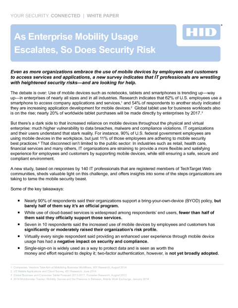 As Enterprise Mobility Usage  Escalates, So Does Security Risk White Paper