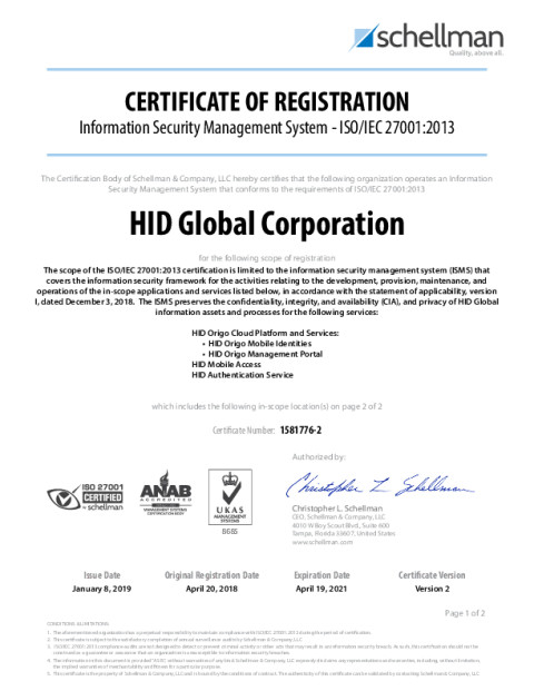 HID Global - ISO/IEC 27001:2013 Certificate ( HID Authentication Service, HID Mobile Access, HID Origo Cloud Platform and Services)