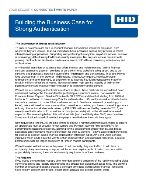 Business Case for Strong Authentication White Paper