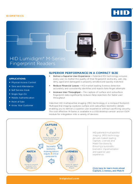 HID Lumidigm® M-Series Fingerprint Readers Datasheet