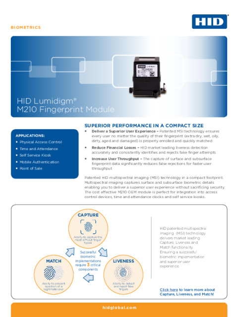 HID LUMIDIGM M210 FINGERPRINT MODULE DATASHEET (ENGLISH)