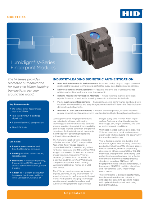 Lumidigm V-Series Fingerprint Modules Datasheet (English)