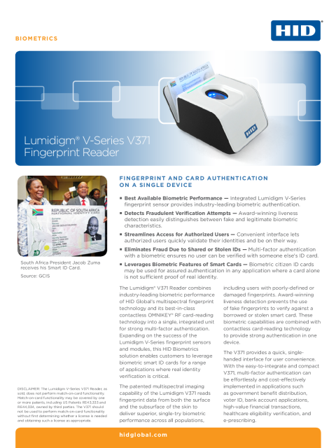 Lumidigm V-Series V371 Fingerprint Reader Datasheet