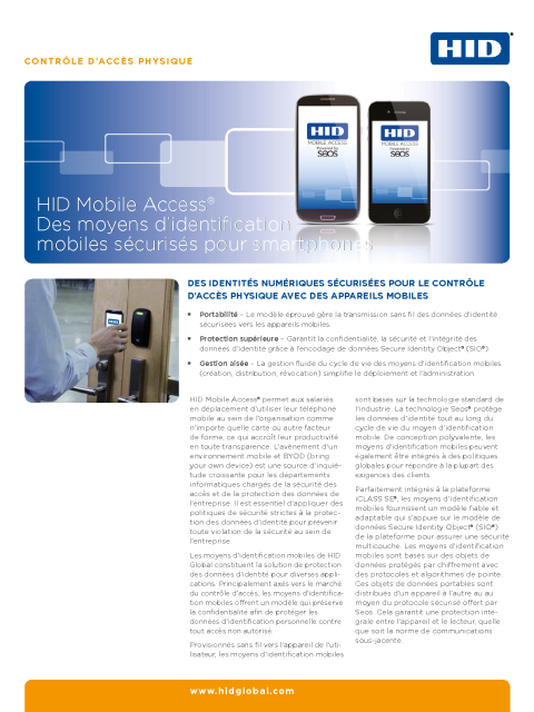 HID Mobile Access Secure Mobile IDs for Smart Devices Datasheet