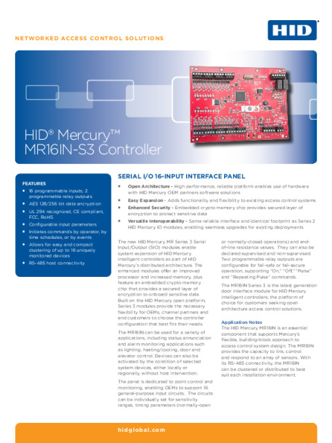 HID® Mercury™ MR16IN-S3 Controller Datasheet