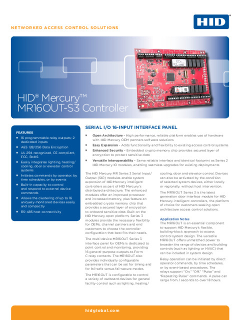 HID® Mercury™ MR16OUT-S3 Controller Datasheet