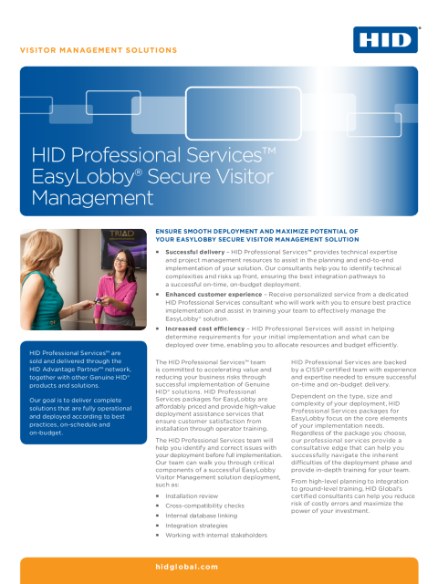 HID Professional Services Easylobby Secure Visitor Management Datasheet