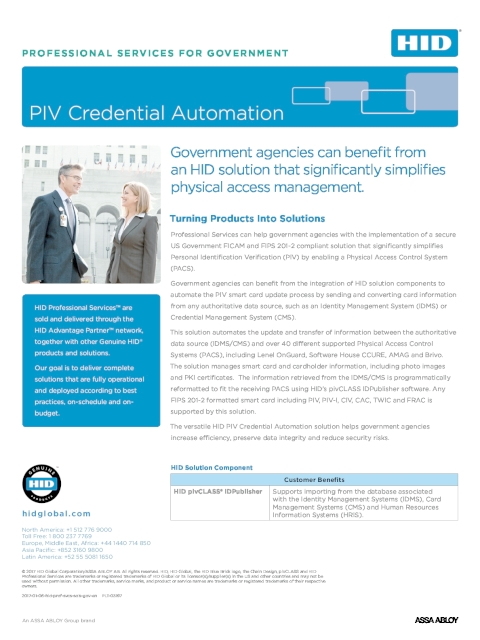 HID Professional Services - PIV Credential Automation