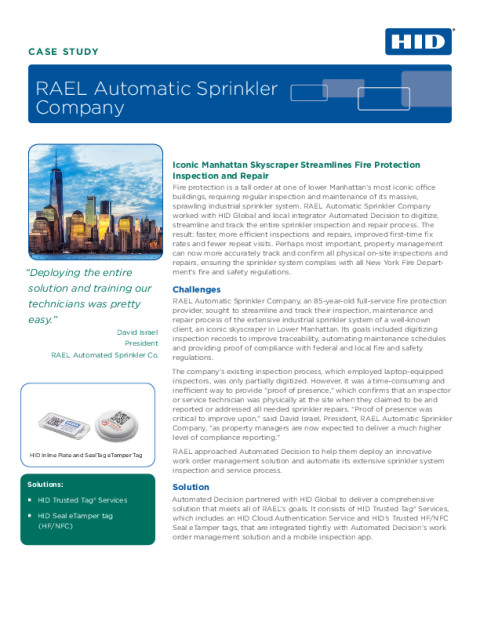 Case Study: RAEL Automatic Sprinkler Company